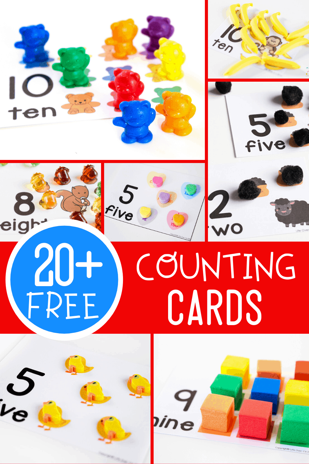 Free printable counting cards for preschool and kindergarten. Use toys and common math manipulatives to count to 10 with these one-to-one correspondence counting activities.