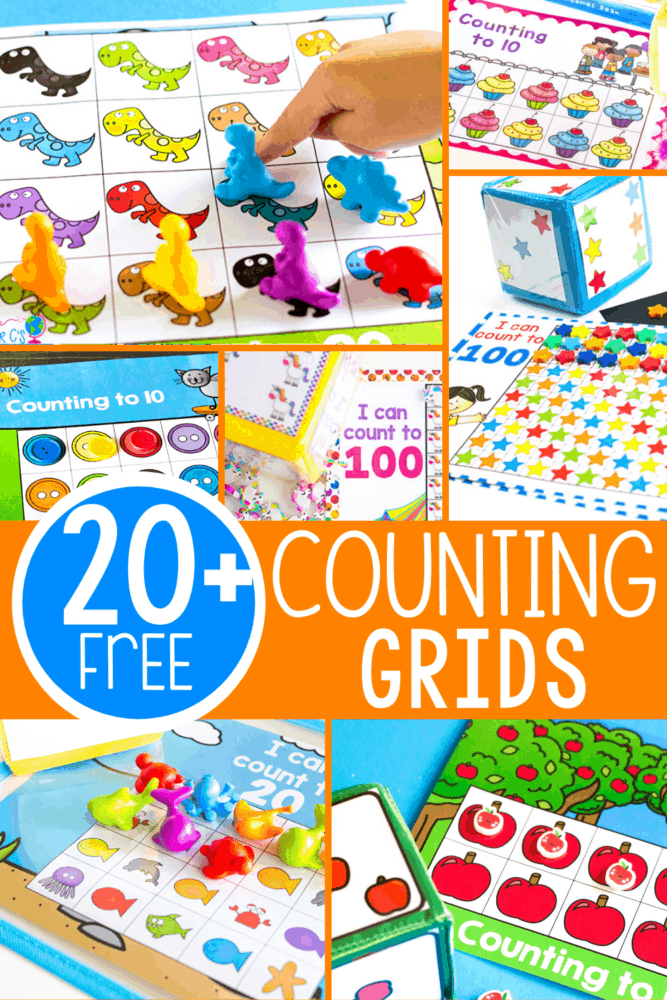 20+ Counting grids for 10, 20 and 100. Play these easy prep counting games with your preschool, pre-k and kindergarten kids for a fun and versatile math activity.