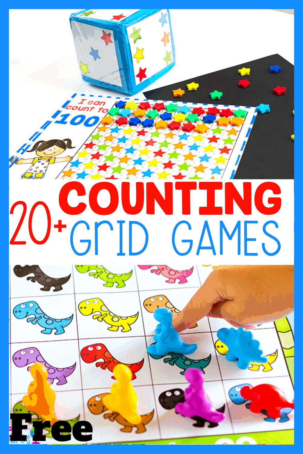 20+ free themed counting grid math games for preschool, pre-k, kindergarten math centers or learning at home. Practice counting, addition and subtraction with these no-prep free printables.