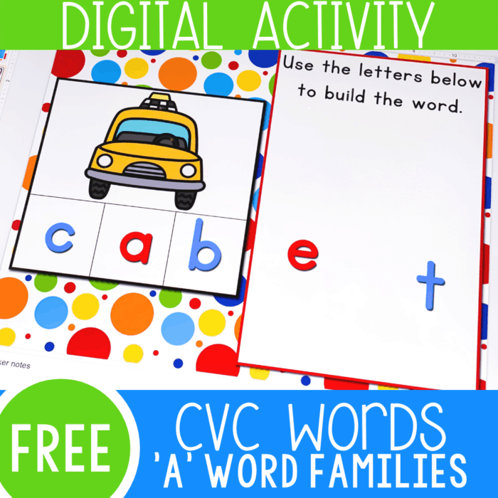 Free Google Slides CVC Word Family Short Vowel 'a' activity for kindergarten. Kids will love building words with this interactive Google Slides literacy activity!