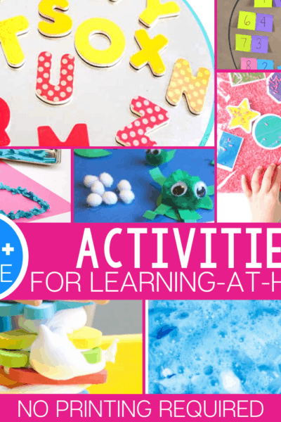 90+ free learning activities for preschool and kindergarten that don't require a printer! All the materials can be found easily in most homes or adapted to work with whatever supplies you have!