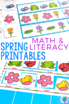 Counting activities, pattern printables, sorting, Spring BINGO games, number order, play dough, alphabet printables and more.