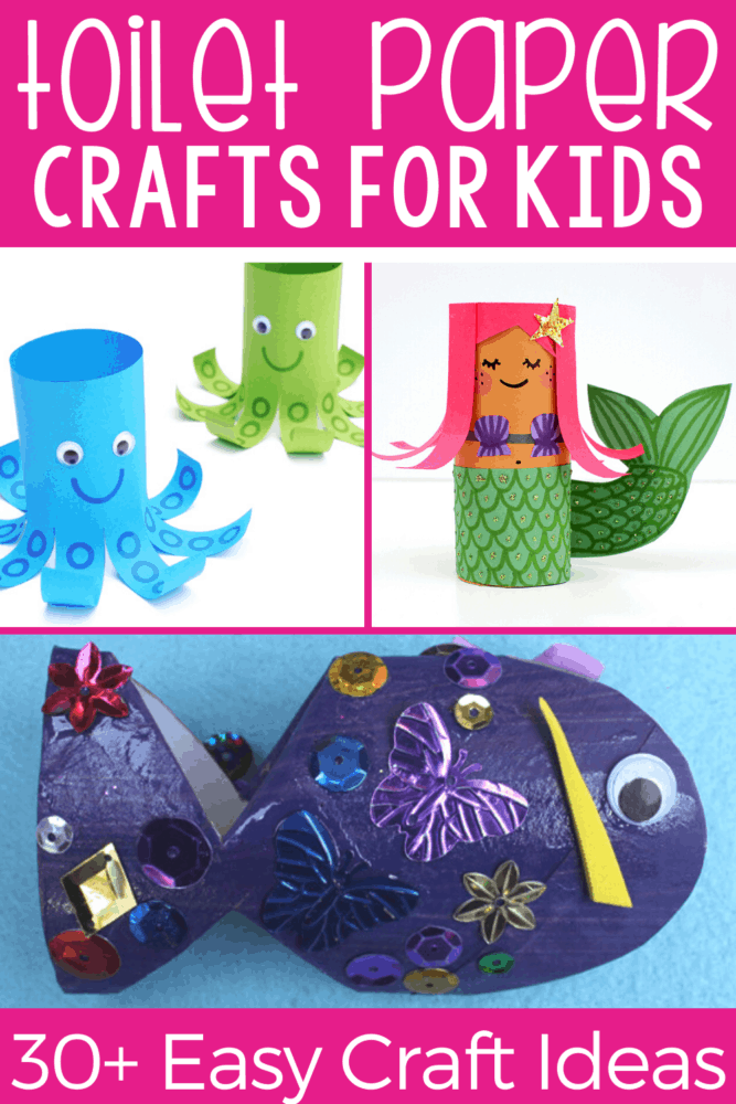 30+ toilet paper roll craft activities for kids! Use your empty paper rolls to make these ocean themed crafts for kids!