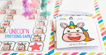 Free Printable Unicorn Theme Emotion Game for Preschool for talking to your preschooler about their emotions