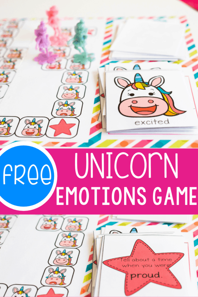 Teach social-emotional skills easily with this free printable unicorn themed emotions board game for preschoolers and kindergarteners.
