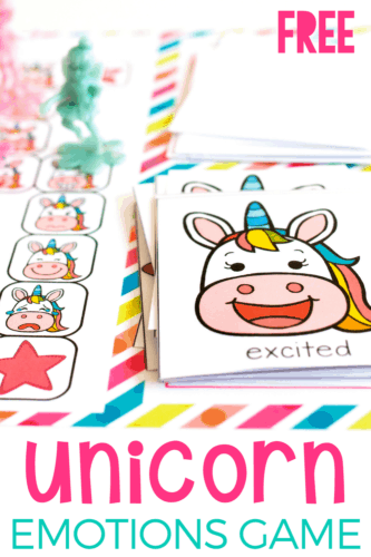 Free printable unicorn themed emotions game for kindergarten