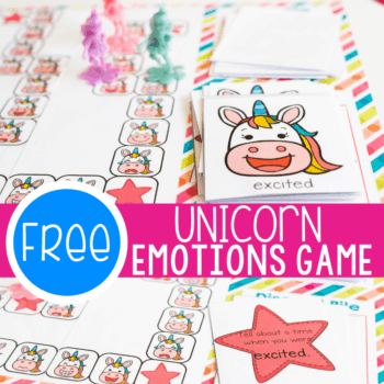 Free printable unicorn emotions game for preschoolers to learn about emotions