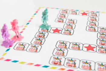 Close up of the unicorn emotions board game mat.