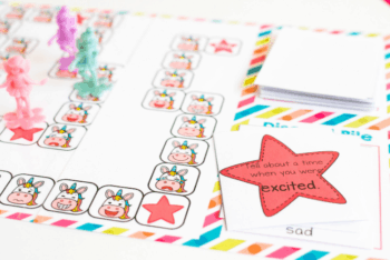 """Close up of a unicorn emotions board game card that says, """"Tell about a time when you were excited""""."""