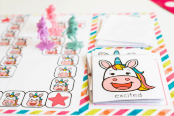 """The unicorn emotions board game card for the emotion """"excited""""."""