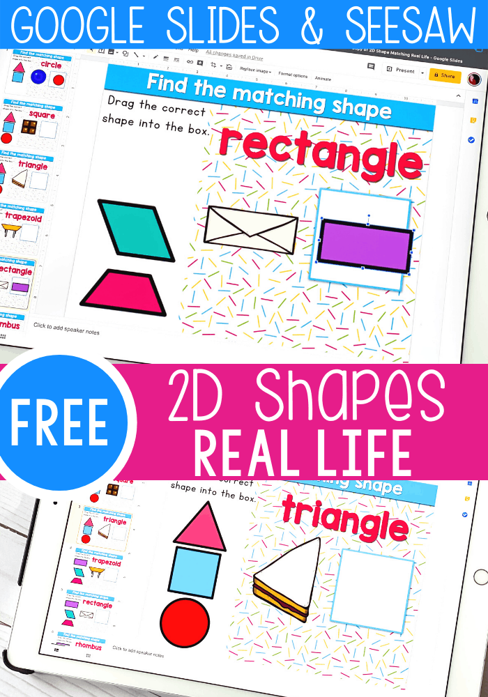 Free kindergarten 2D shapes activity for math centers. Use real life objects to match to shapes on these free Digital Google Slides and Seesaw activities. Perfect for math centers, homeschooling and distance learning.