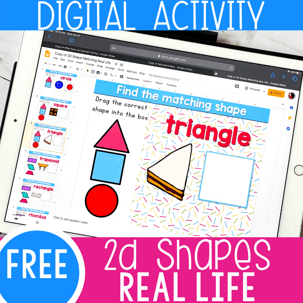 2D Shapes Kindergarten Activity for Google Slides