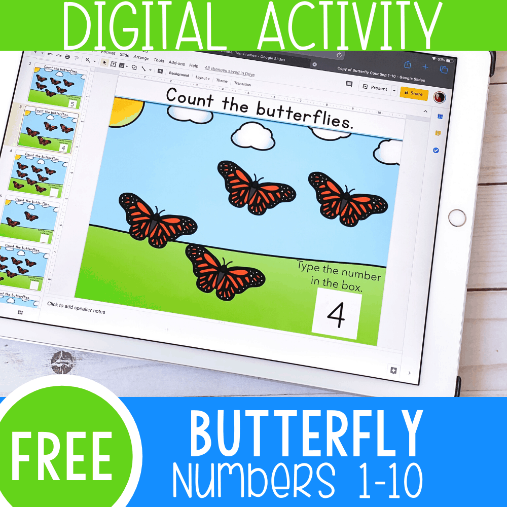 Easy Butterfly Counting Activity for Preschoolers