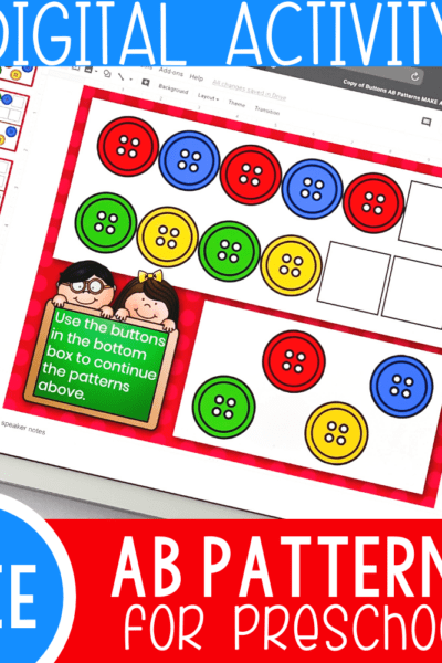This free pattern activity for preschoolers using Google slides is super fun for kids.