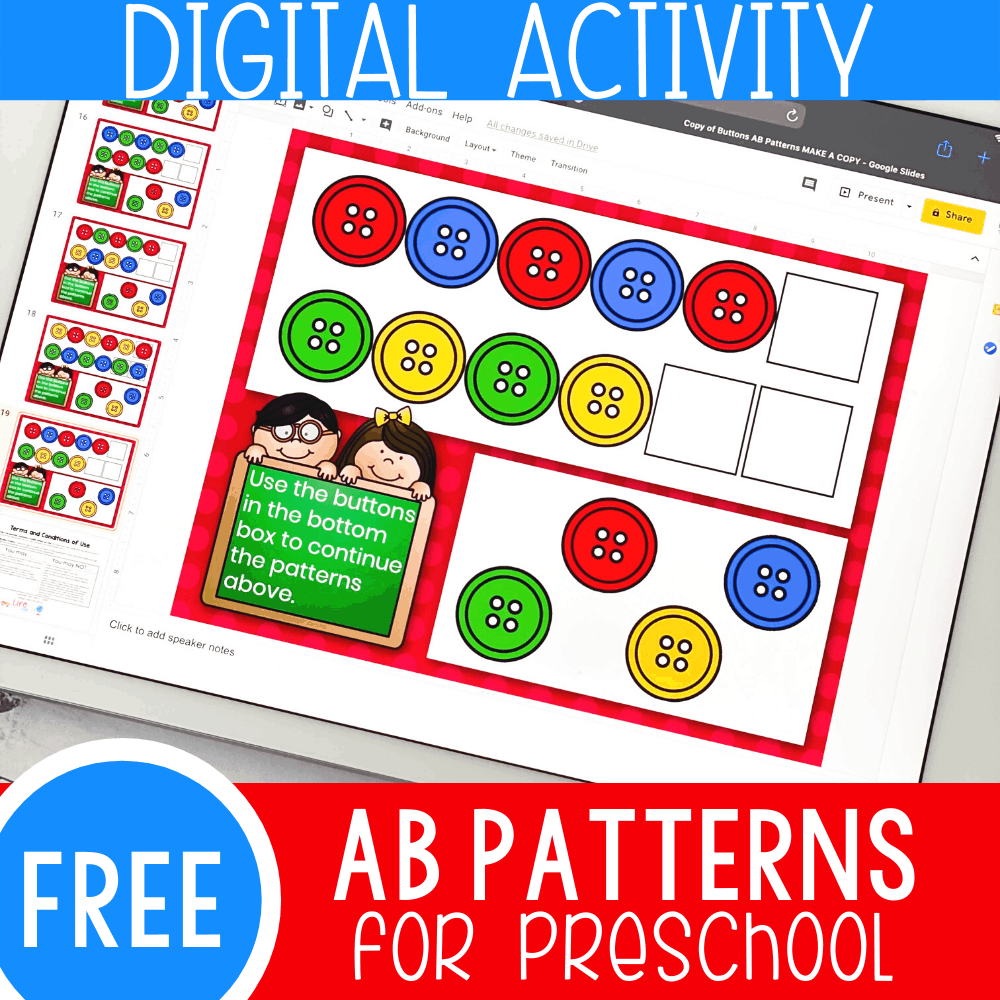 Button AB Patterns Activity for Preschool