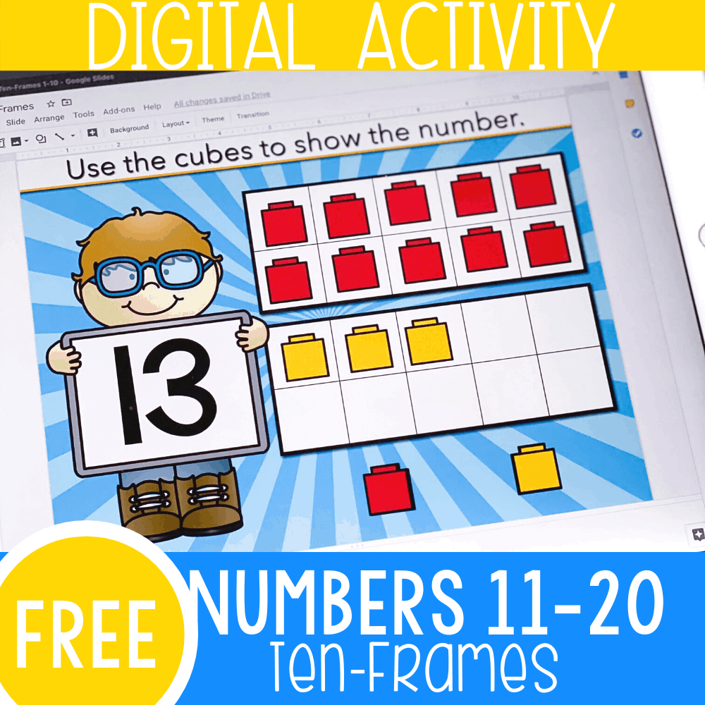 Ten Frames for Numbers 11-20 Google Slides