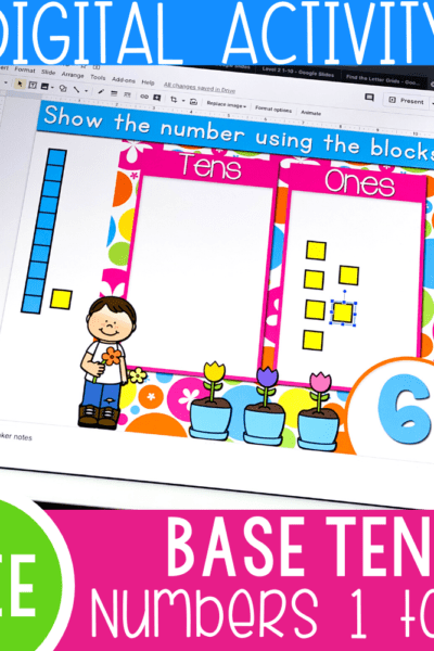 Free base ten activity for kindergarten. Count to 10 using base ten blocks with this free Google Slides and Seesaw digital activity.