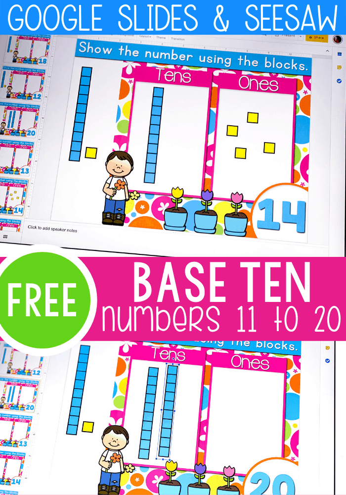 Free base ten activity for kindergarten. Count to 20 using base ten blocks with this free Google Slides and Seesaw digital activity.