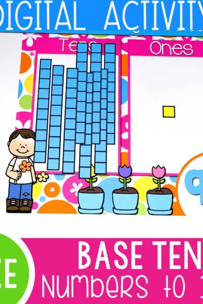 Free base ten activity for kindergarten and 1st grade. Work on numbers to 100 with this free Google Slides and Seesaw activity for math.