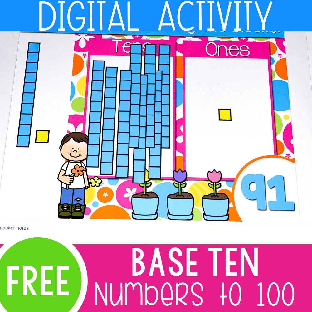 Spring Base Ten Blocks Math Activity for Numbers to 100