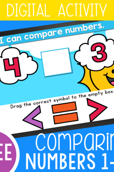 Free greater than less than activity for kindergarten comparing numbers 1-10. Use these Google Slides and Seesaw activities to learn about greater than less than signs. Upgrade to the self-checking Boom Cards™ to make the activity even more engaging.