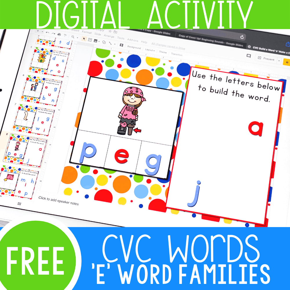 "CVC Words Short Vowel ""E"" Google Slides"