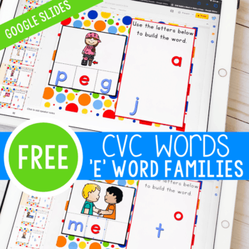 """These CVC Word Family """"E"""" Google Slide activities are very fun to use. One of the first sets of words you start learning to read and CVC word family words. Use technology to get kids excited about learning with these Google Slides!"""