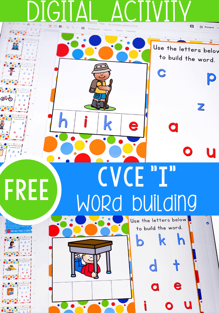 Free Google Slides and Seesaw CVCE word activities for kindergarten literacy centers. Learn to build Magic e words with this simple digital activity. Perfect for kindergarten, distance learning and homeschooling