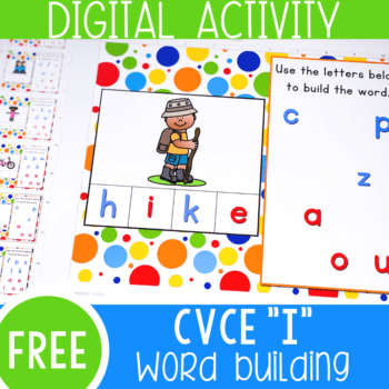 Free Google Slides and Seesaw CVCE word activities for kindergarten literacy centers. Learn to build Magic e words with this simple digital activity. Perfect for kindergarten, distance learning and homeschooling.