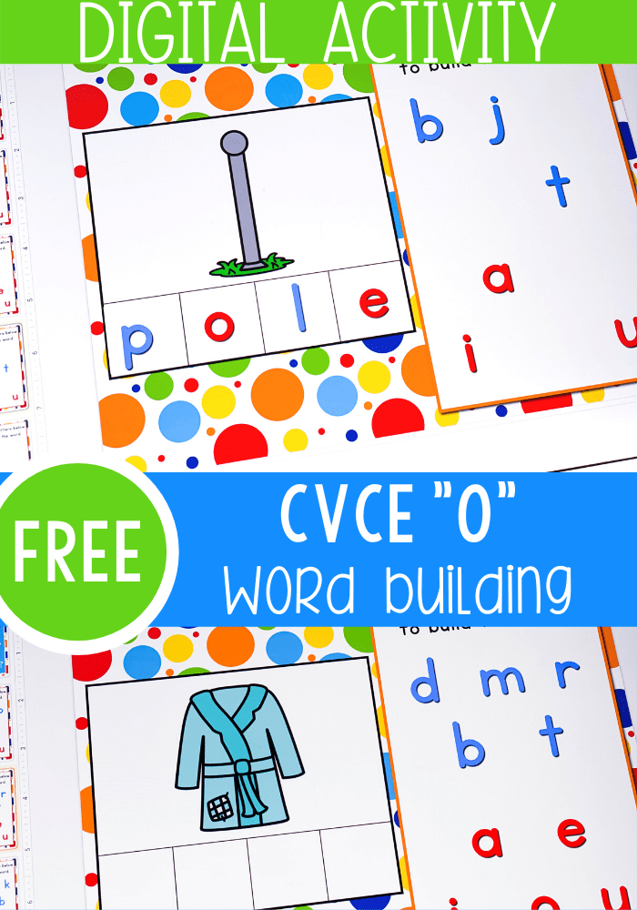 """Free Magic """"e"""" Long Vowel literacy activity for kindergarten. Work on long vowel 'o' word families with these Google Slides and Seesaw activities for kindergarten"""