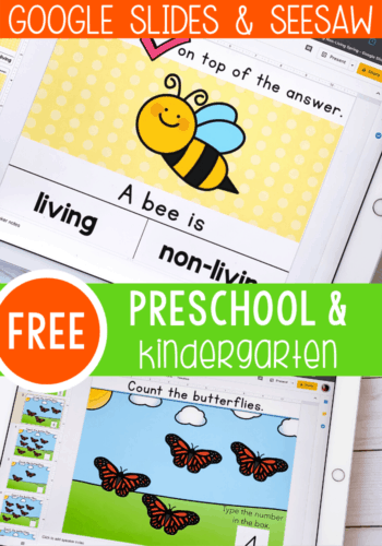 Free Google Slides activities for kindergarten and preschool. Practice beginning sounds, CVC Words, Addition and more with these simple Google Slides activities. No printer needed! Perfect for at-home-distance learning or any time!