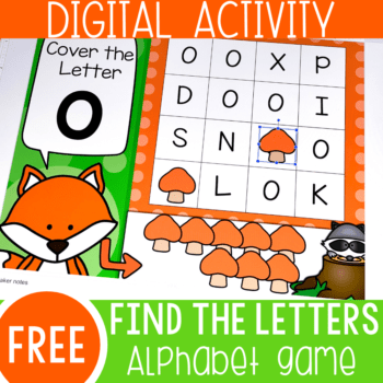 Practice letter recognition with these free find the letter alphabet games for Google Slides and Seesaw. Learn about the alphabet with your preschool and kindergarteners!
