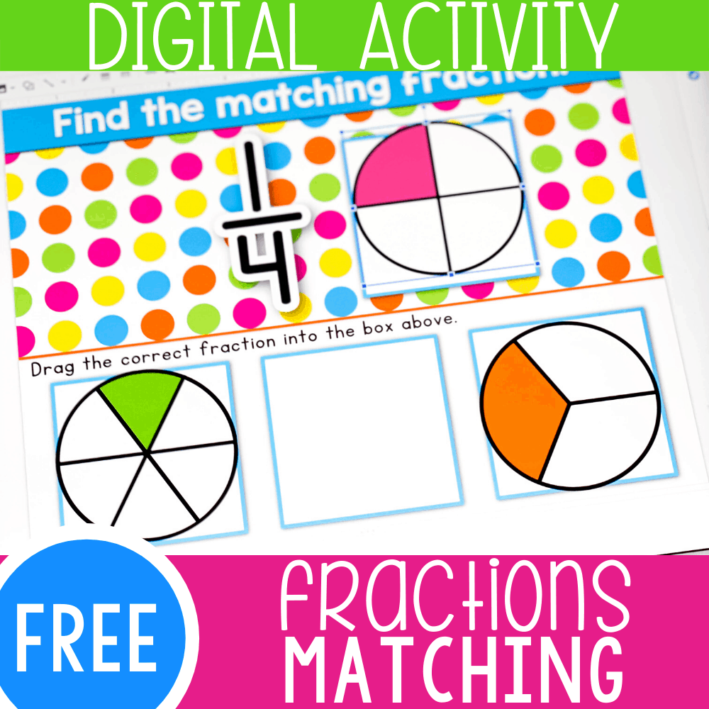 First Grade Fractions Matching Activity