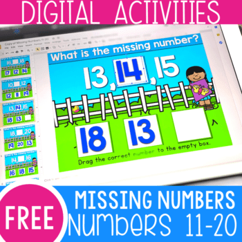 Free kindergarten missing numbers activity for numbers 11-20. Practice missing teen numbers with these free digital activities for Google Slides and Seesaw.