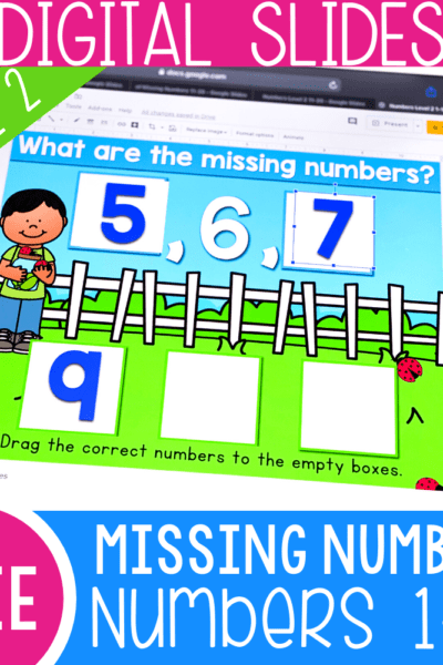 Free missing numbers activity for kindergarten. Work on missing numbers for 1-10 with this free Google Slides and Seesaw math activity for kindergarten.