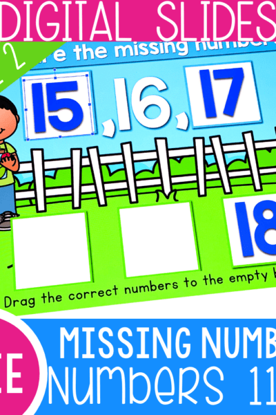 Free Digital Activity for practicing missing numbers in kindergarten math centers. Use Google Slides and Seesaw activities to learn about missing numbers with your kindergarteners