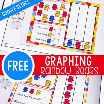 Free rainbow bear themed graphing activity for kindergarten. Learn about counting and picture graphs with these simple Google Slides kindergarten graphing pages.
