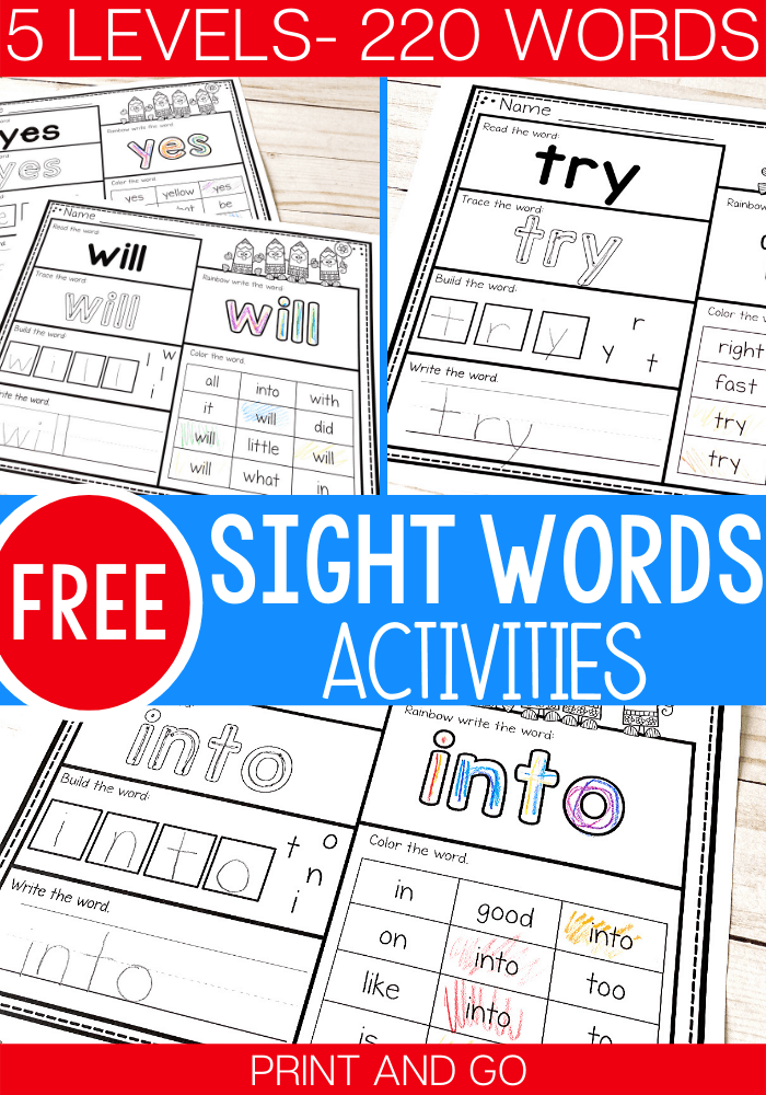 5 Levels: Free Print And Go Sight Word Worksheets - Life Over C's