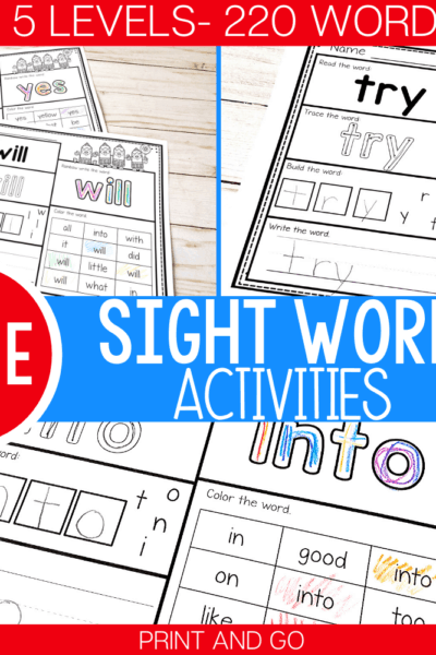 220 sight word worksheets in 5 levels: pre-primer/preschool, primer/kindergarten, 1st grade, 2nd grade, 3rd grade. Practice sight words with your kids using these fun sight word worksheets!