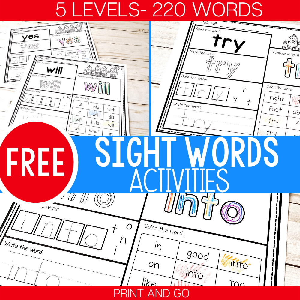 5 Levels: Free Print and Go Sight Word Worksheets