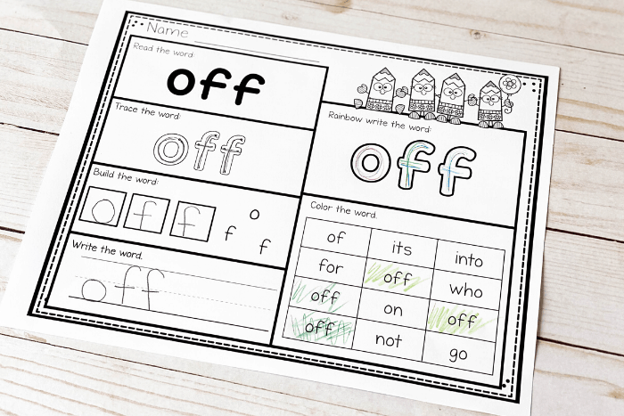 Free Printable Second Grade Sight Words Worksheets -