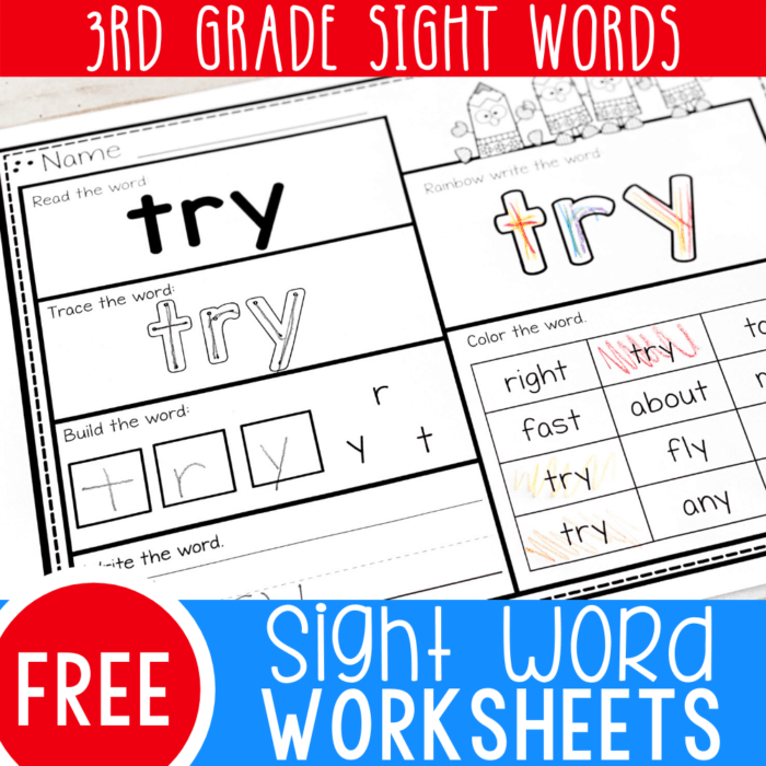 How can we help beginning readers improve their reading fluency? Two words: Sight Words! Using activities like these free printable third grade sight words worksheets are an awesome way to build fluency!