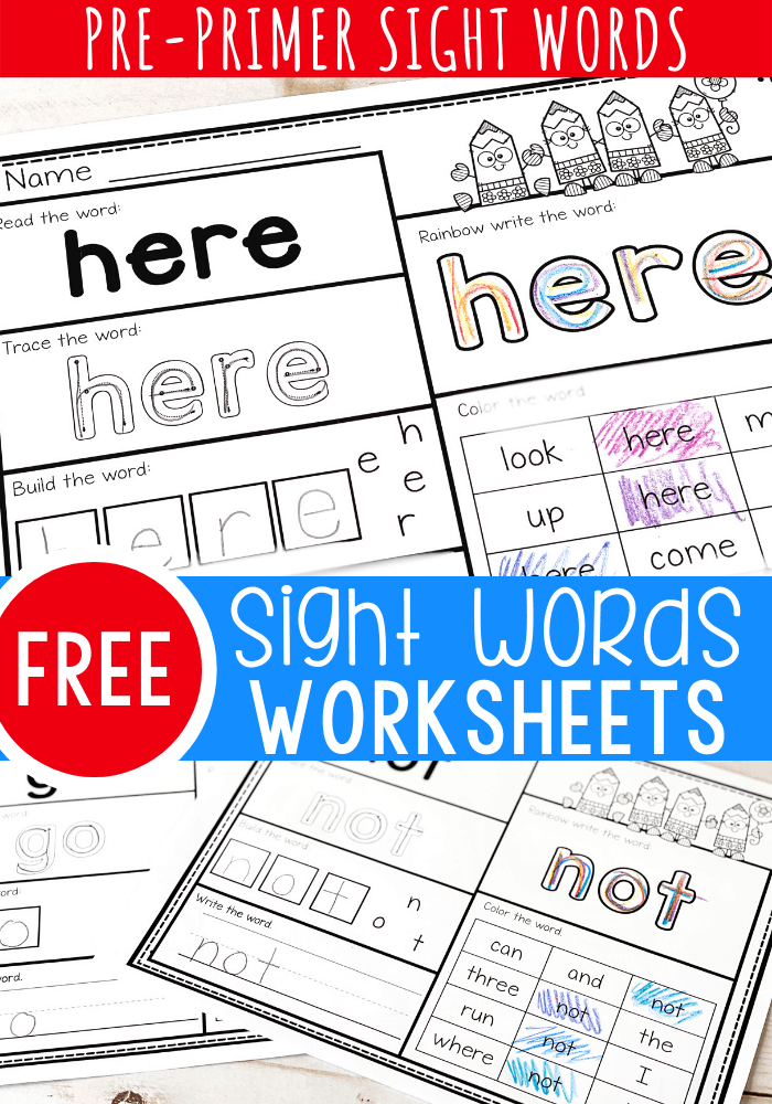 Free Printable Pre-K Sight Words Worksheets -