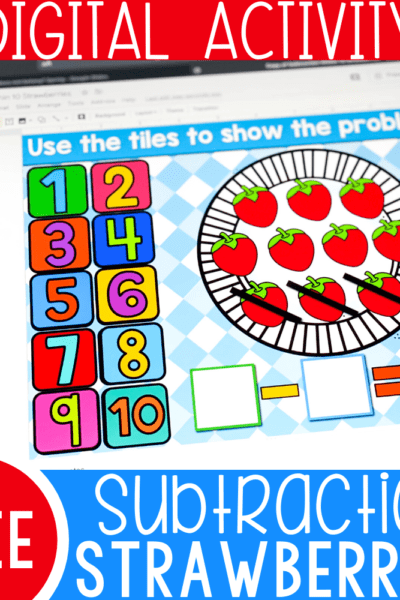 Free subtraction within 10 activity for kindergarten math centers. Use the number tiles on this free digital Google Slides and Seesaw activity to build subtraction problems with a fun spring strawberry theme.