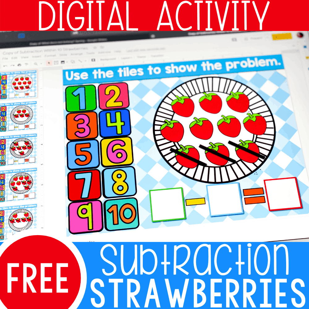Strawberry Subtraction within 10 Activity