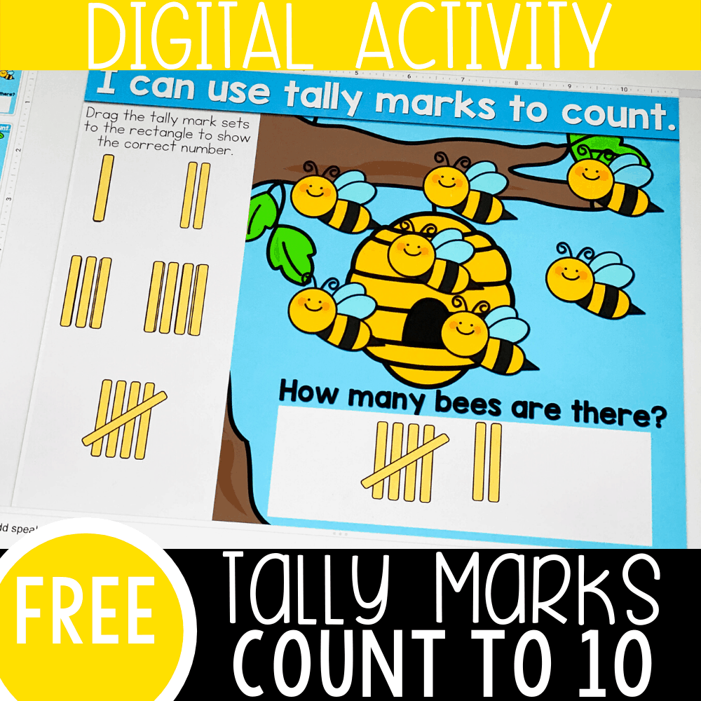 Free tally marks activities for first grade. Use these fun, bee theme tally marks Google Slides and Seesaw digital activities.