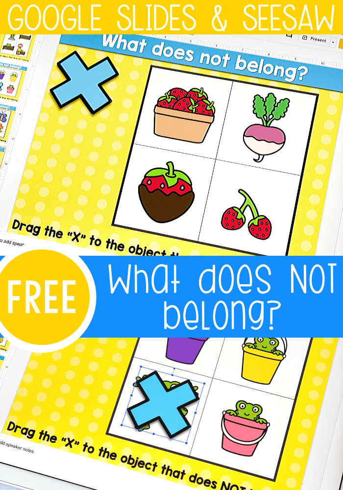 "Free visual discrimination ""What does not belong?"" activity for kindergarten and preschool. Kids will choose the spring theme picture that does not match in this fun Google Slides and Seesaw digital activity for kindergarten."