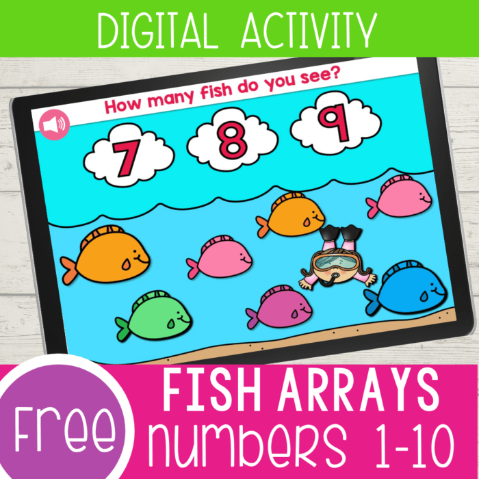 Interactive fish counting activity for kindergarten. This self-checking Google Slides activity is a great way to work on counting with kindergarteners.
