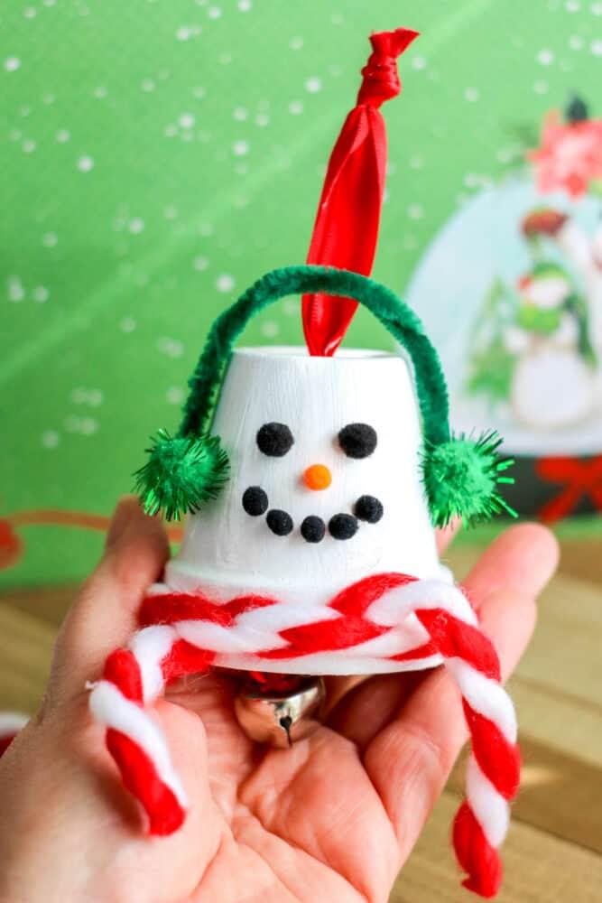 Terracotta Pot Snowman Ornament tall image.