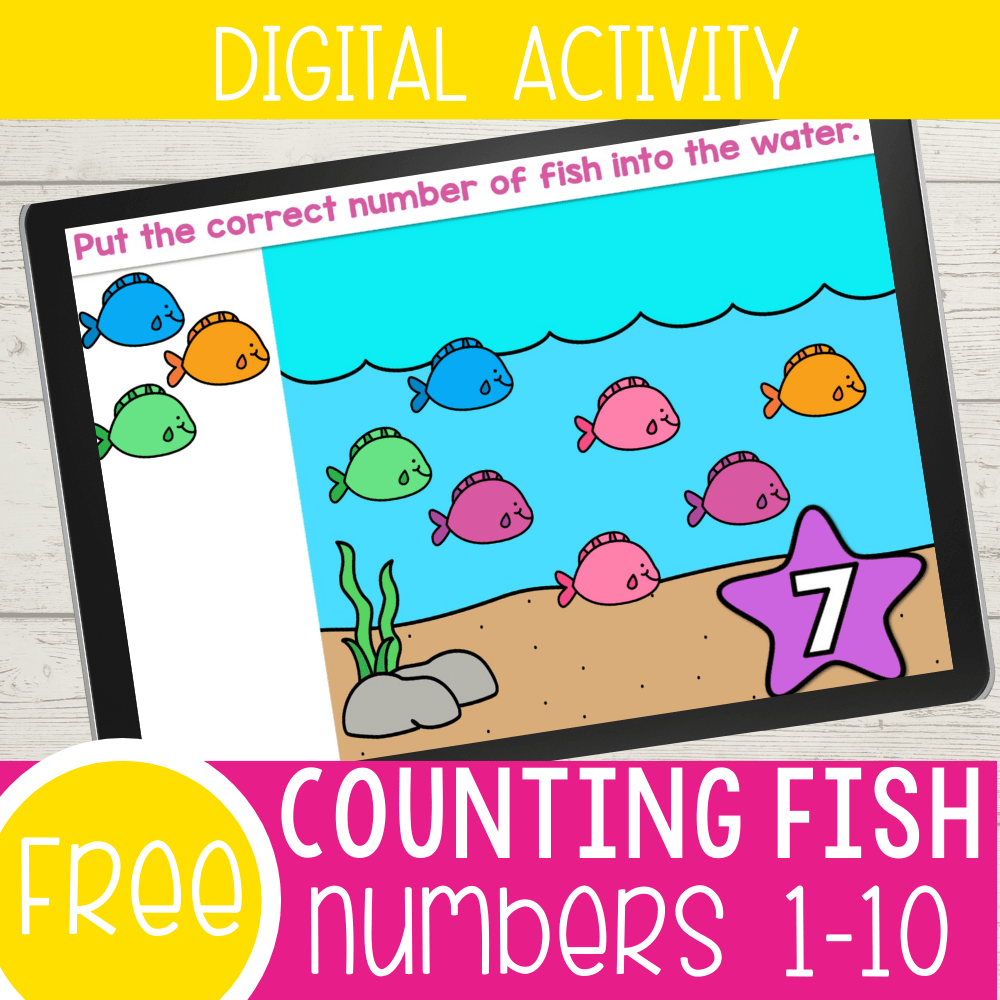 Interactive fish counting activity for preschool.